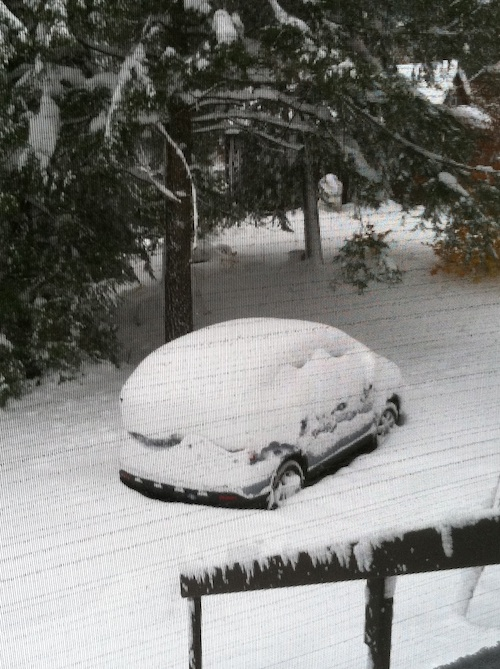 My snow covered Honda CR-V in New England