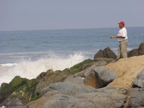 Fishing off the breakwater at San Pancho