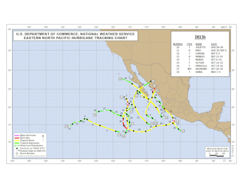 Eastern Pacific Storm Tracks for 2013 - storms 10 - 18